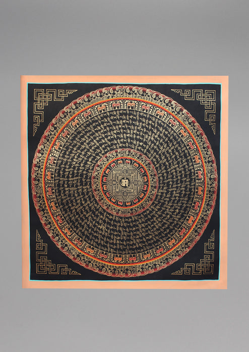 8 Line Mantras Mandala Om Painted Thangka