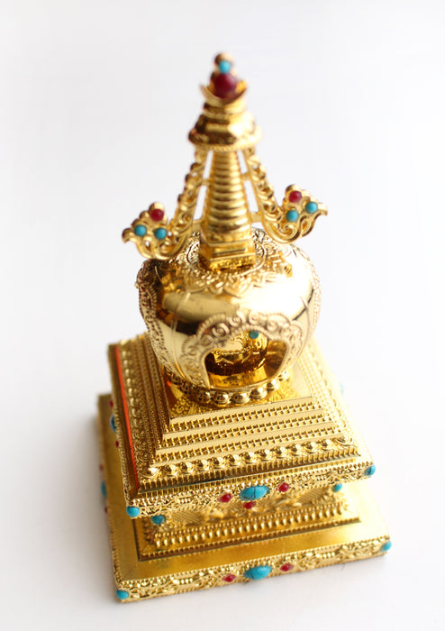 Stupa Chorten Desktop Prayer Wheel Inlaid Coral and Turquoise - nepacrafts