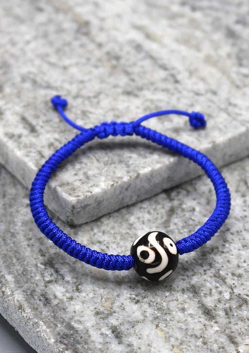 Lucky Knots Dzi Bead Blue Color Bracelet