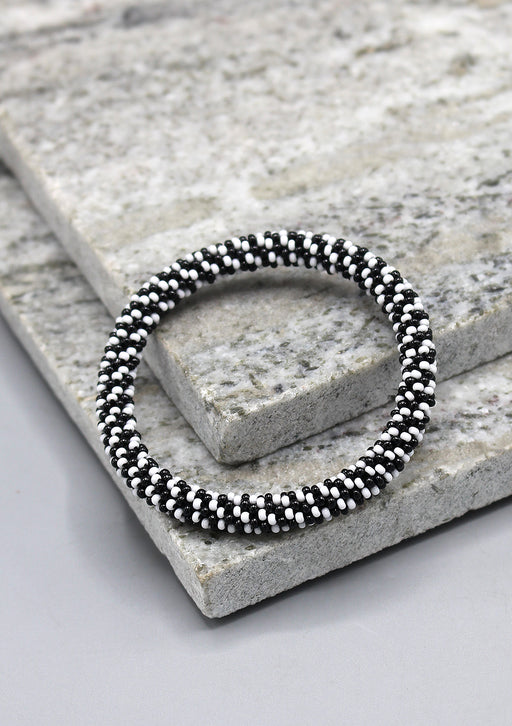 Black White Twined Roll On Bracelet