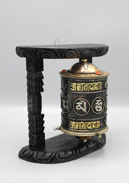 Tibetan Om Mani Copper Prayer Wheel Wall Hanging - nepacrafts