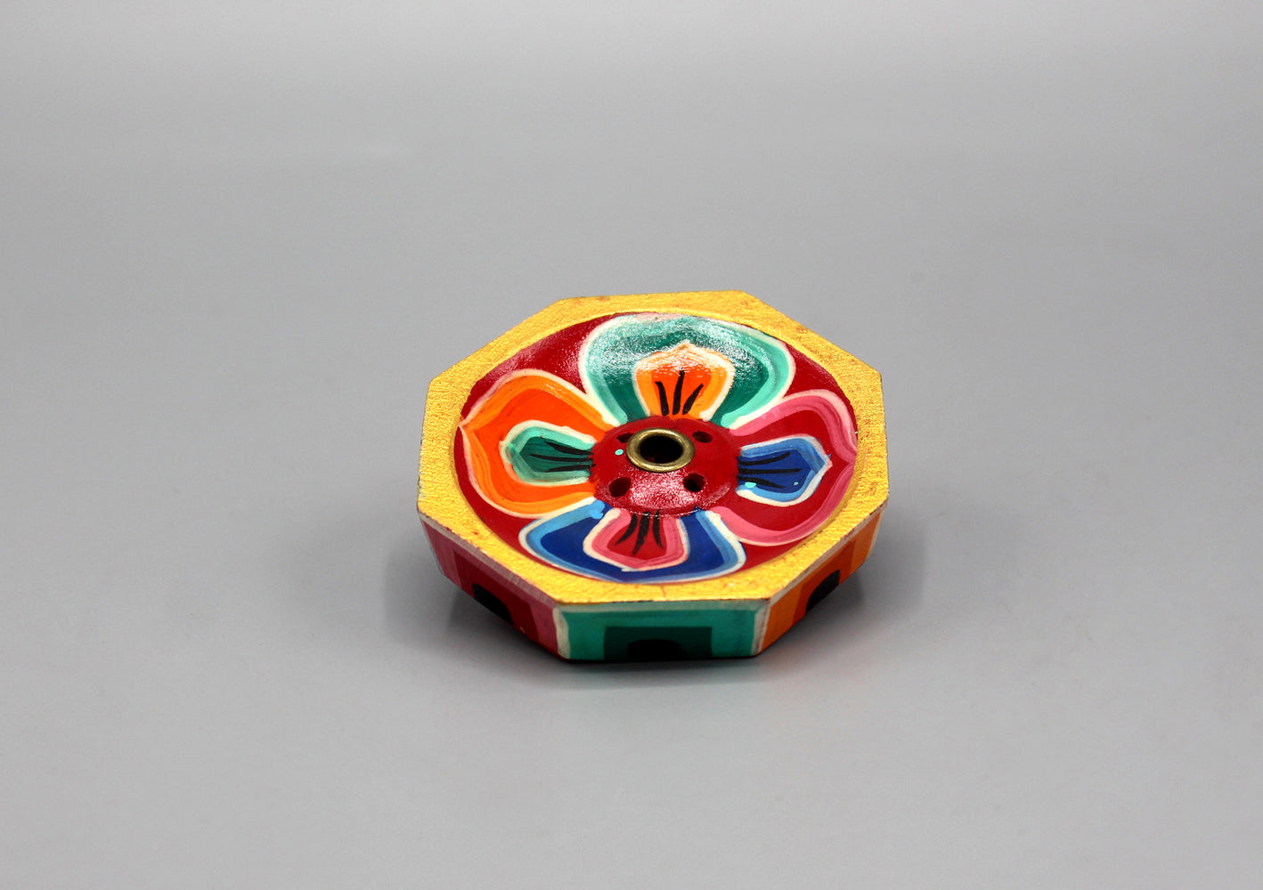 Hand Painted Octagonal Wooden Incense Burner - nepacrafts