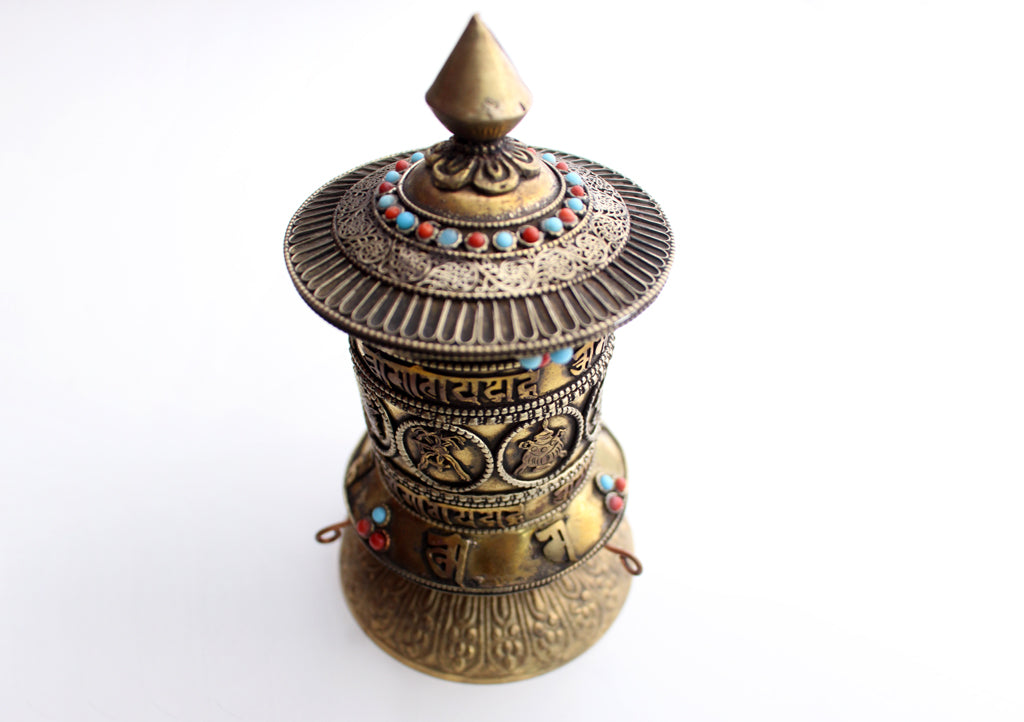 Om Mani & Astamangal Carved Tibetan Desktop Prayer Wheel - nepacrafts