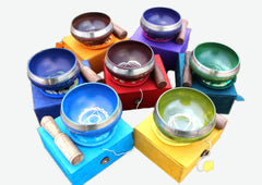 Seven Chakra Signs etched Singing Bowls Gift Box set - NepaCrafts