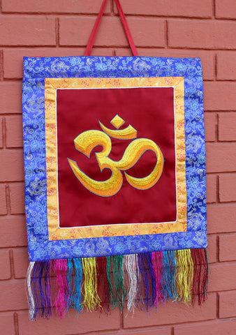 Hindu Om Embroidered Brocade Wall Hanging Banner - NepaCrafts