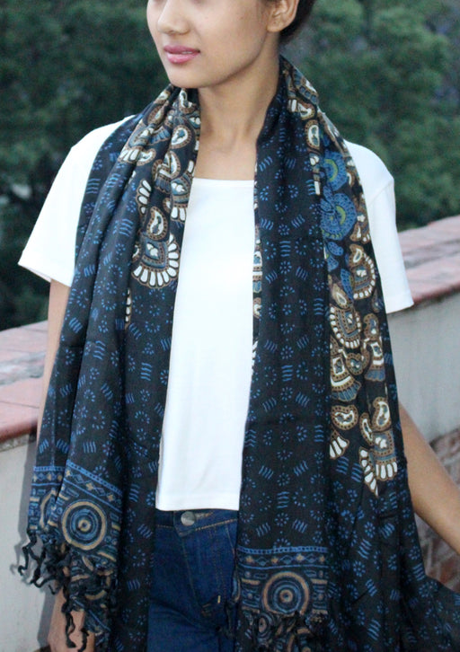 Black and Blue Mandala Print Cotton Shawl/Scarf with Fringe - nepacrafts