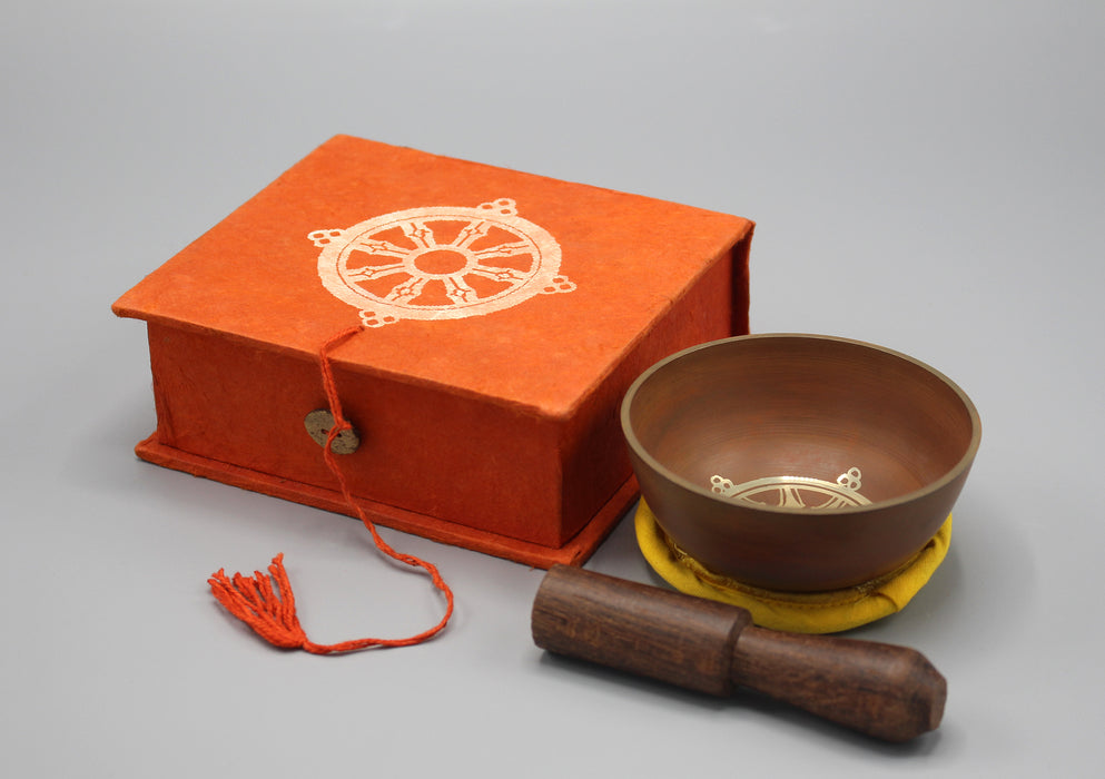 Dharma Chakra Painted Singing Bowls with Cushion and Mallet in Gift Box - nepacrafts