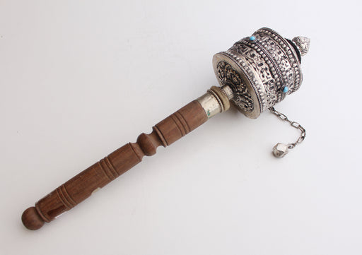 Tibetan Handheld Prayer Wheel Inscribed with Ranjana Script(Lantsa) with Resin Torquoise - nepacrafts