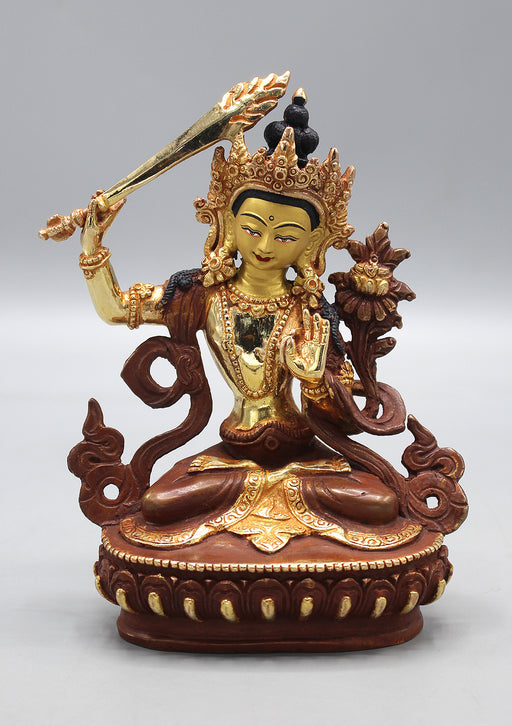 Partly Gold Painted Copper Manjushree Statue