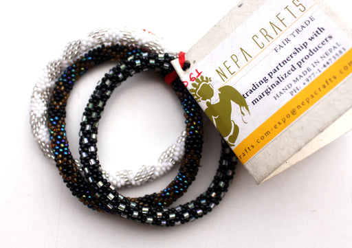 Black and White Multicolor Beads Nepalese Set of Three Roll on Bracelet - nepacrafts