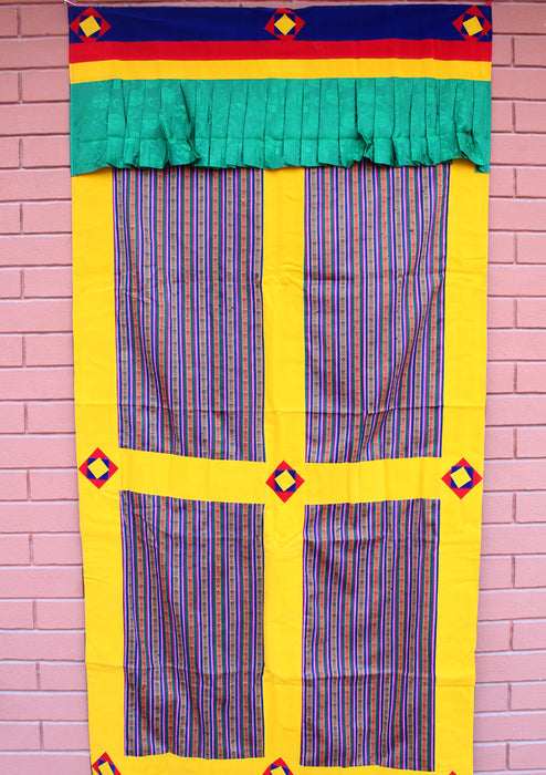 Velvet Border Bhutanese Hand Woven Cotton Door Curtain - nepacrafts