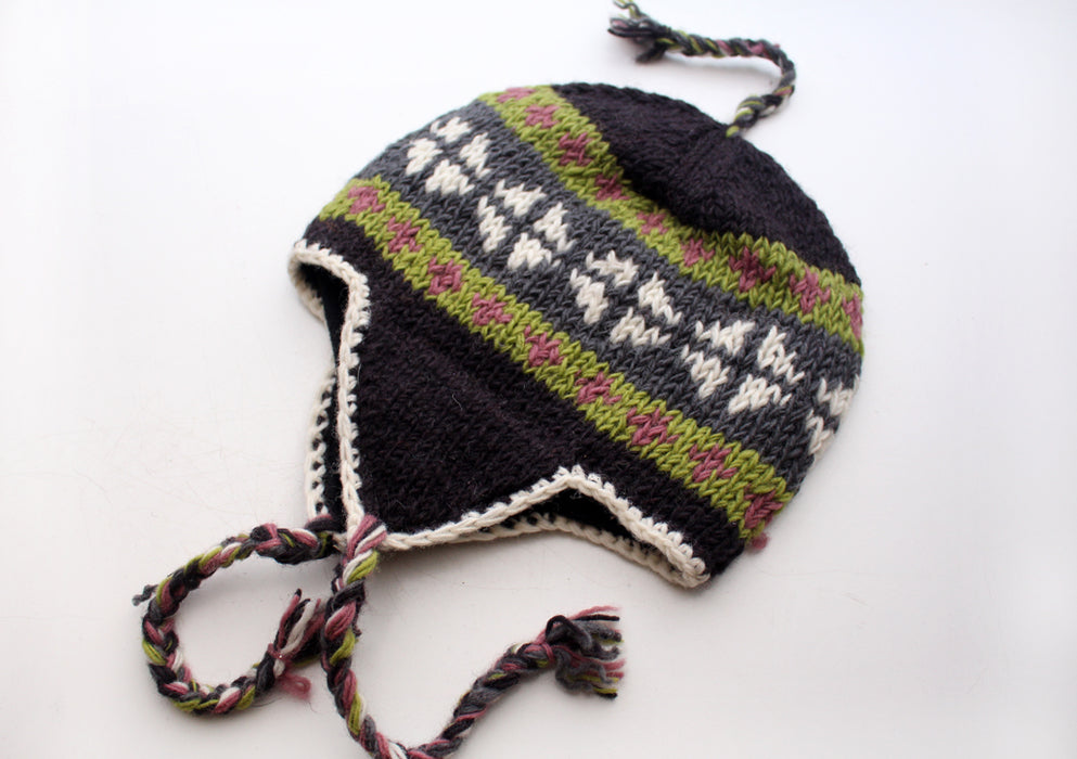 Hand Knitted Ear flap Plus Signed Hat with Braided Tassels and Inner Fleece - nepacrafts