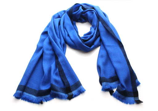 Luxurious Blue 100 % Exclusive Cashmere Shawl with Border Herringbone Pattern - nepacrafts