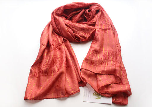 Dark Orange Cotton Meditation Scarf with Elephant Print, Jari Shawl/Scarf - nepacrafts