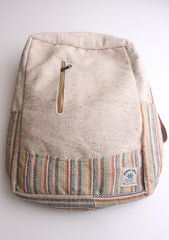 Green and Blue Lining Handmade Eco Friendly Hemp Backpack with Laptop Sleeve