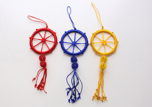 Charming Wheel of Life Car Hanging Decorated with Glass Beads - nepacrafts