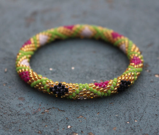 Roll Over Bohemian Glass Seed Crocheted Bracelet - nepacrafts