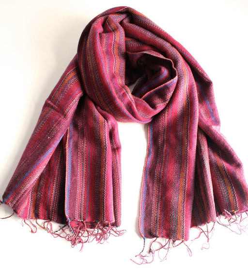 Exclusive Yak Wool Stripe Light Red Shawl