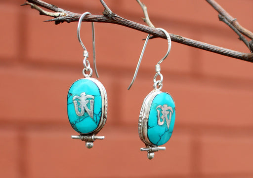 Oval Turquoise Inlaid Tibetan Om Silver Earrings - nepacrafts