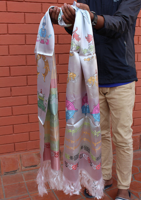 Eight Auspicious Symbol Silk Offering Khata