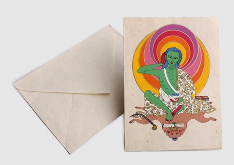 Handmade Milarepa Painted Lokta Paper Greetings Card