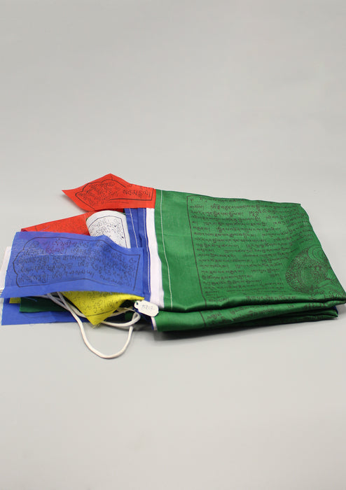 Tibetan Kalachakra, Windhorse and Deities Vertical Prayer Flags - nepacrafts