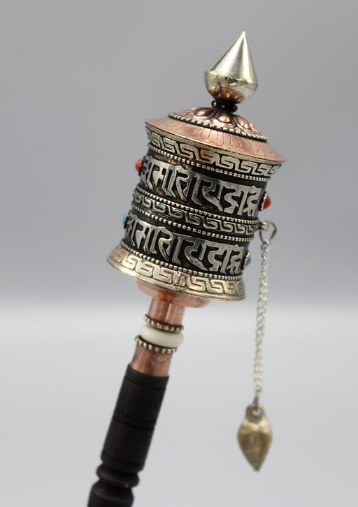 Tibetan Buddhist Handheld Copper Prayer Wheel - nepacrafts