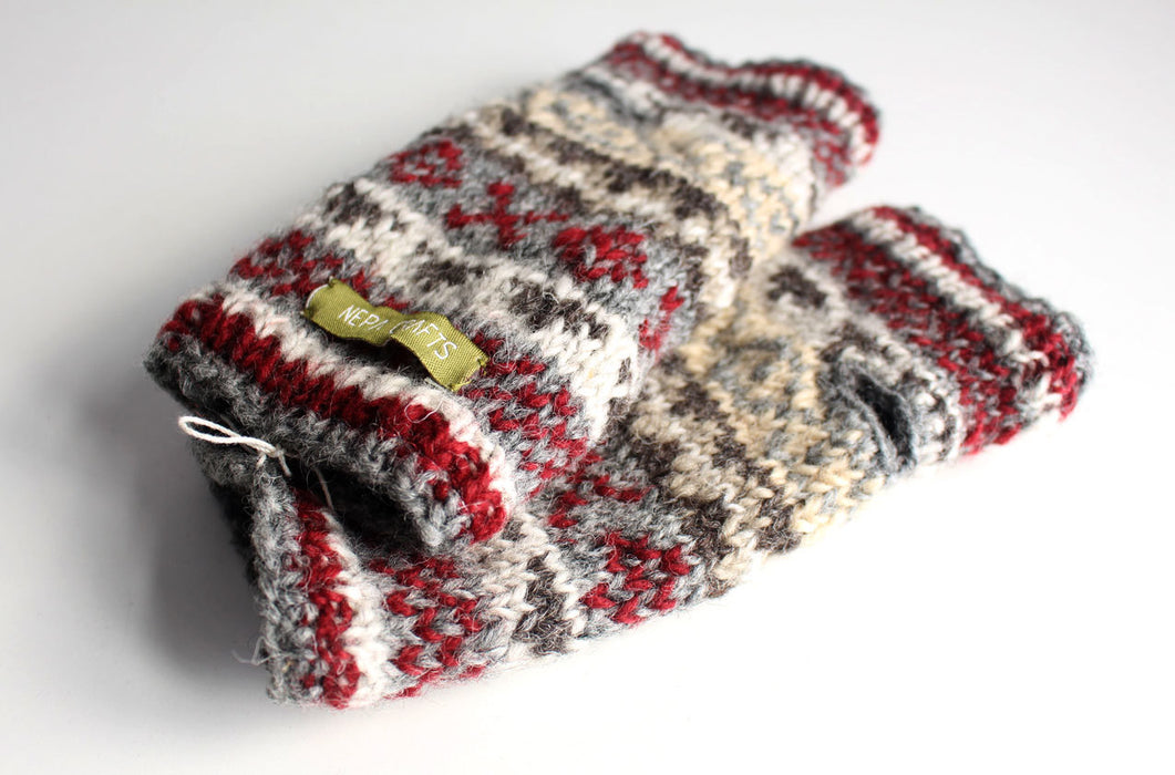 Gray Red Multicolored Woolen Hand Warmers - nepacrafts