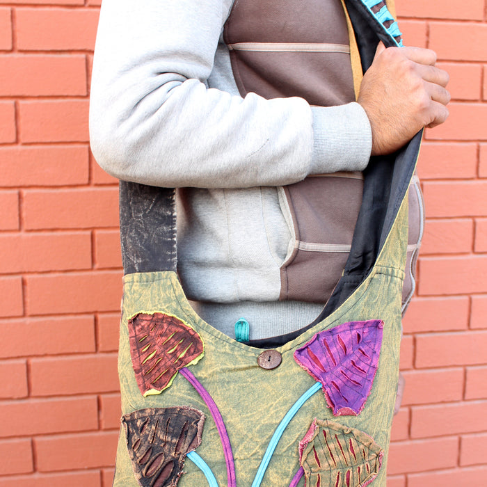 Colorful Flower Patchwork Jogi Bag, Cotton Hippie Side Carry Bag - nepacrafts