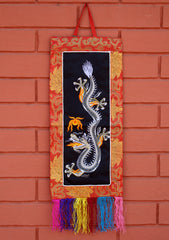 Dragon Embroidery Brocade Framed Wall Hanging - NepaCrafts