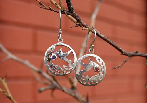 Round Silver Sterling Peace Dove Earrings - nepacrafts