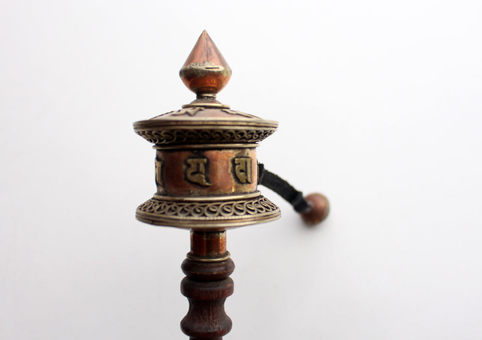 Spinning Handled Tibetan Prayer Wheel Inscribed with Ranjana Script - nepacrafts