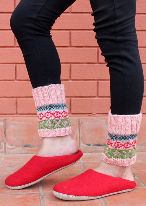Christmas Gift Peach Multicolor Woolen Short Legwarmers - nepacrafts