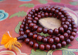 10 mm Red Rosewood Beads Mala with Orange Tassel - NepaCrafts