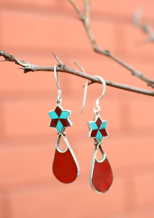 Flower Drop Inlaid Turquoise and Coral Dangle Silver Earrings - nepacrafts