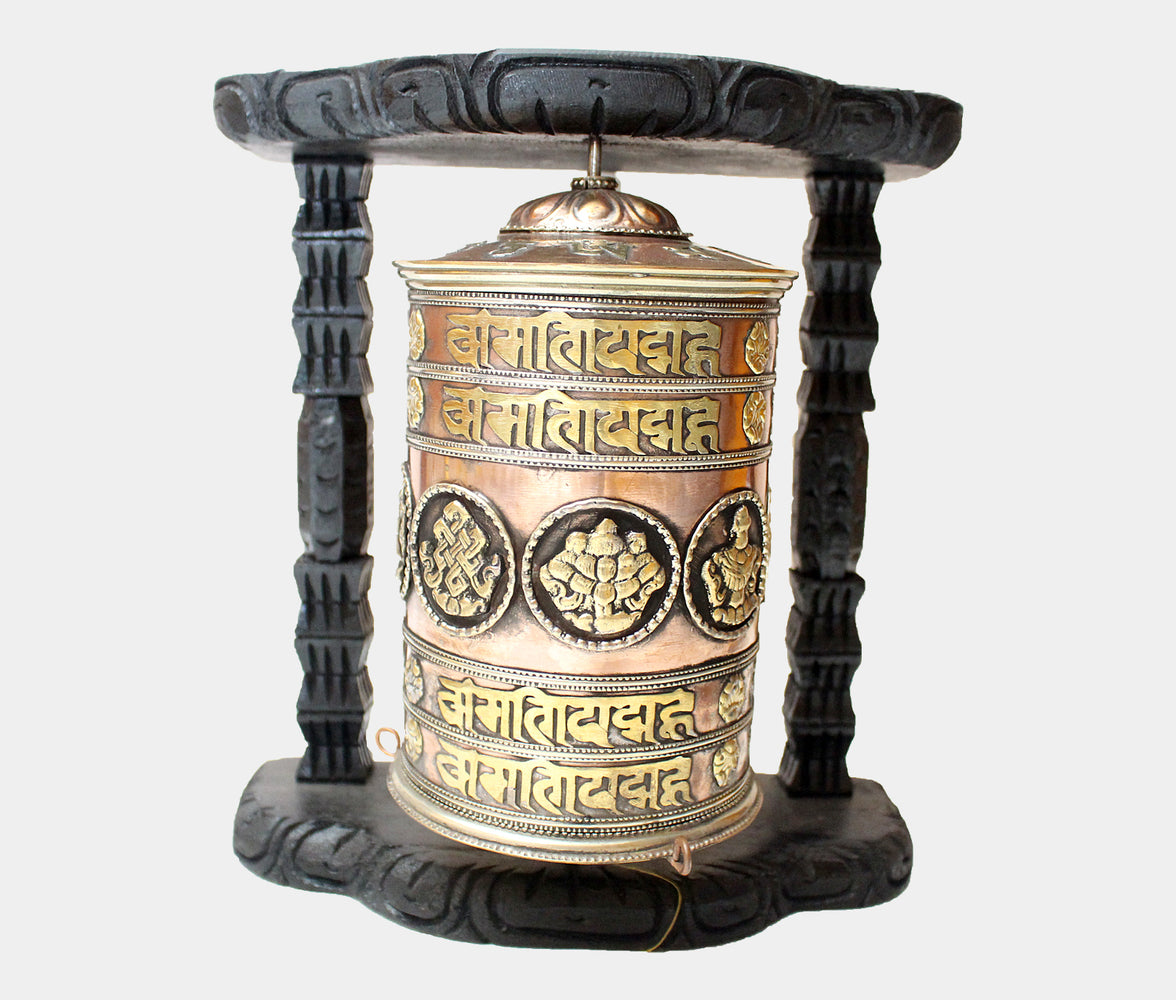 Large Copper Prayer Wheel with Wooden Wall Frame - nepacrafts