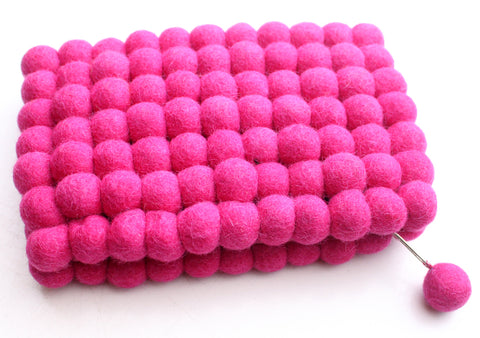 Gorgeous Pink Felt Balls Women Zipper Clutch Purse