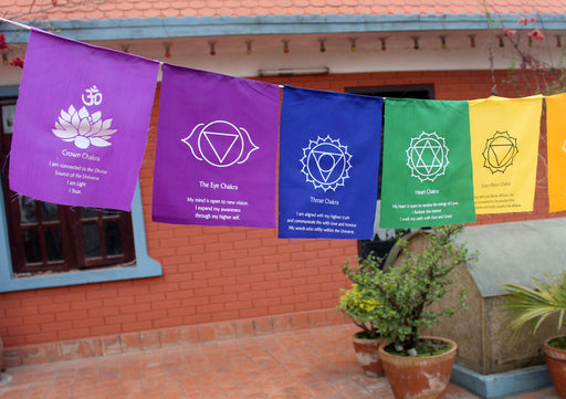 Seven Chakra Healing Prayer Flags - nepacrafts