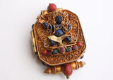 Goldplated Vajrapani Ghau Pendant with Lapis Stone - NepaCrafts