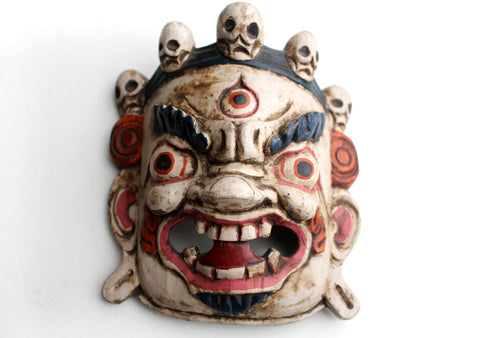 HandCarved Bhairav-The Protector Wooden Wall Hanging Mask