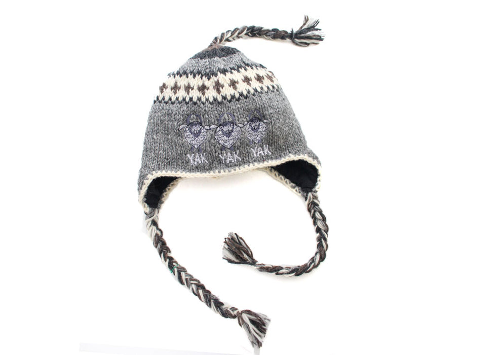 00a6ce62f5781a Grey and White Mix Yak Embroidered Woolen Sherpa Cap - nepacrafts