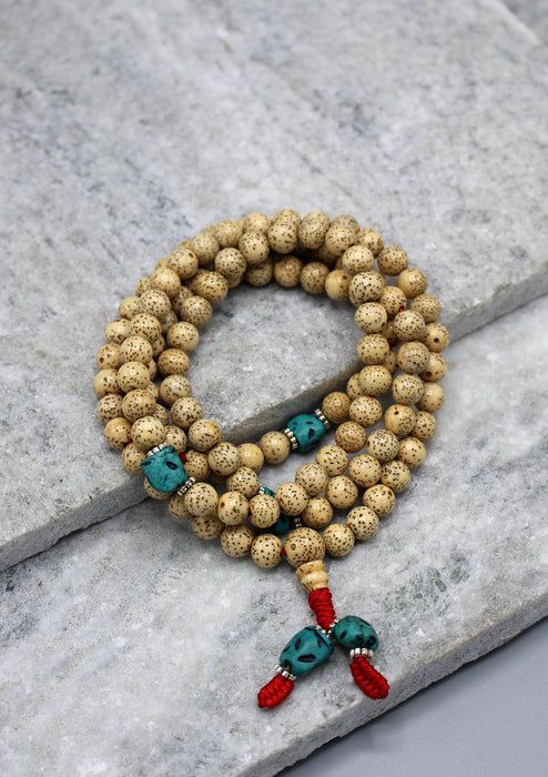 Genuine 108 Lotus Seeds Tibetan Prayer Mala with Turquoise Spacer - nepacrafts