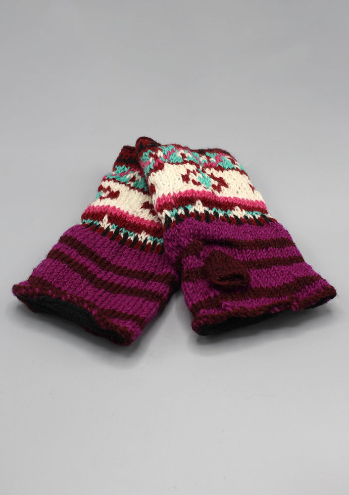 Multi Color Purple and Brown Lining Finger less Gloves /Hand Warmers