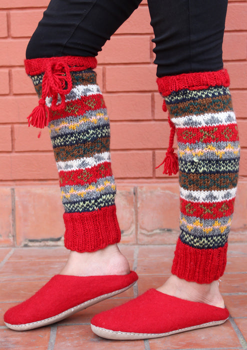 Bright Red Border Multicolor Woolen Legwarmers with Knitted Lace - nepacrafts