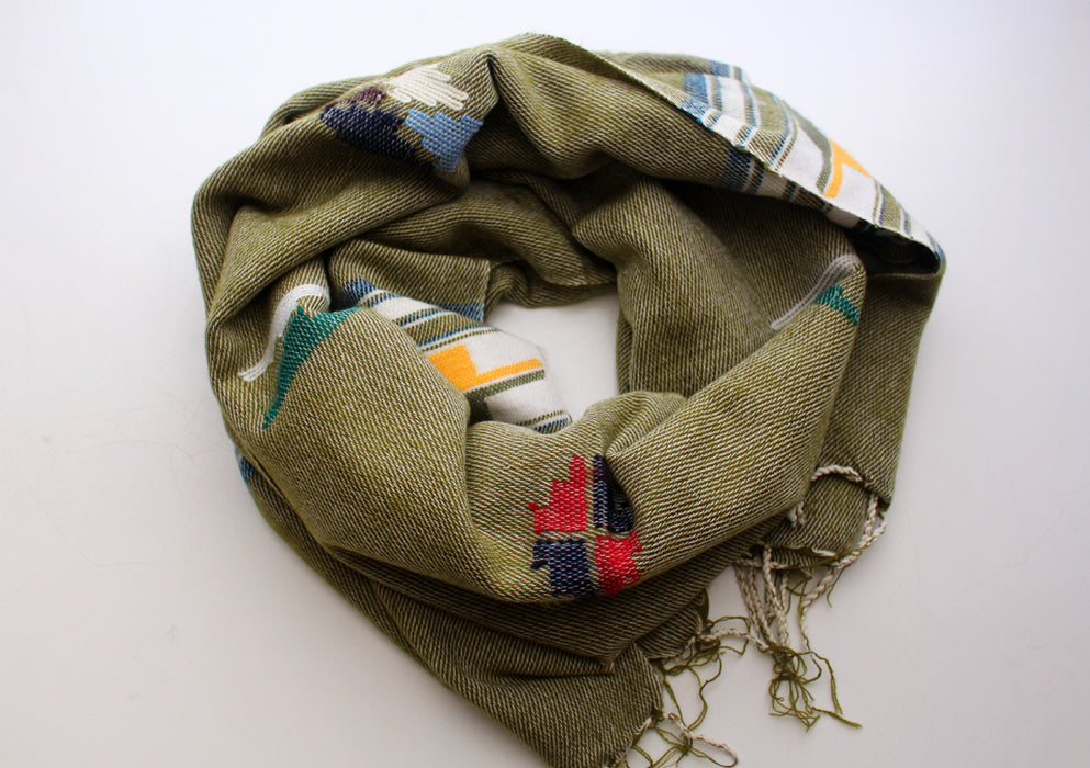 Dark Blue Border Olive Green Warm and Cozy Yak Wool Shawl - nepacrafts
