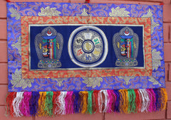 Brocade Framed Tibetan Kalachakra with Om Mani Wall Hanging
