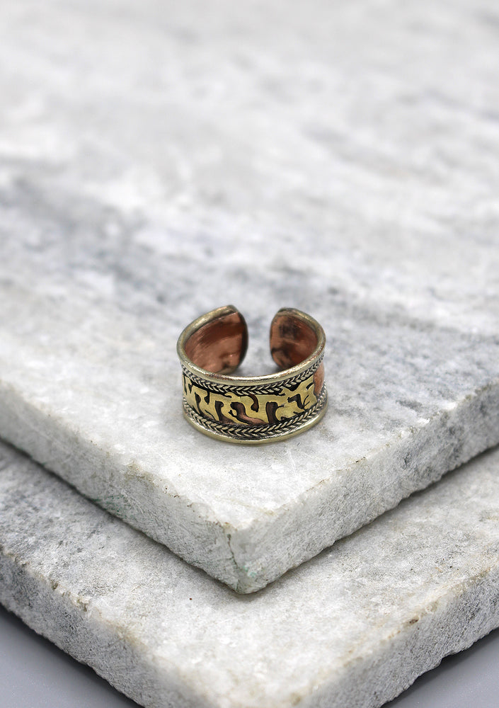 Tibetan Om Mani Mantra Copper Finger Ring