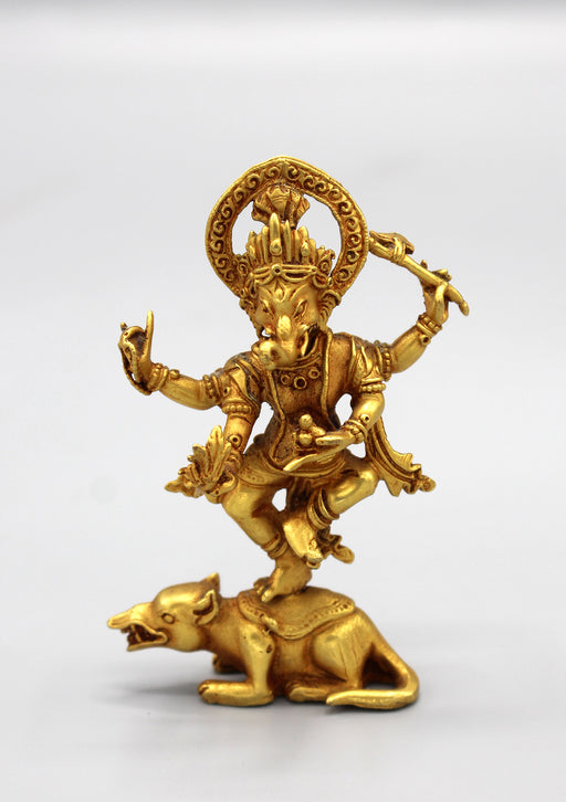 Lord Ganesha Standing on Mouse Gold Plated Statue - nepacrafts