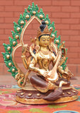 Four Armed Goddess Saraswati Partly Gold Plated Statue with Frame