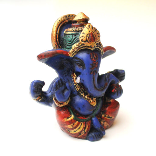 "Blue Four Armed Baby Ganesh Resin Statue 2.5"" - nepacrafts"